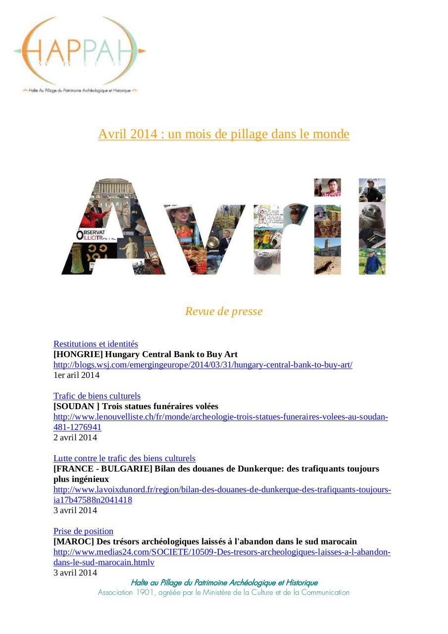 Aperçu du document Avril 2014 un mois de pillage dans le monde.pdf - page 1/14