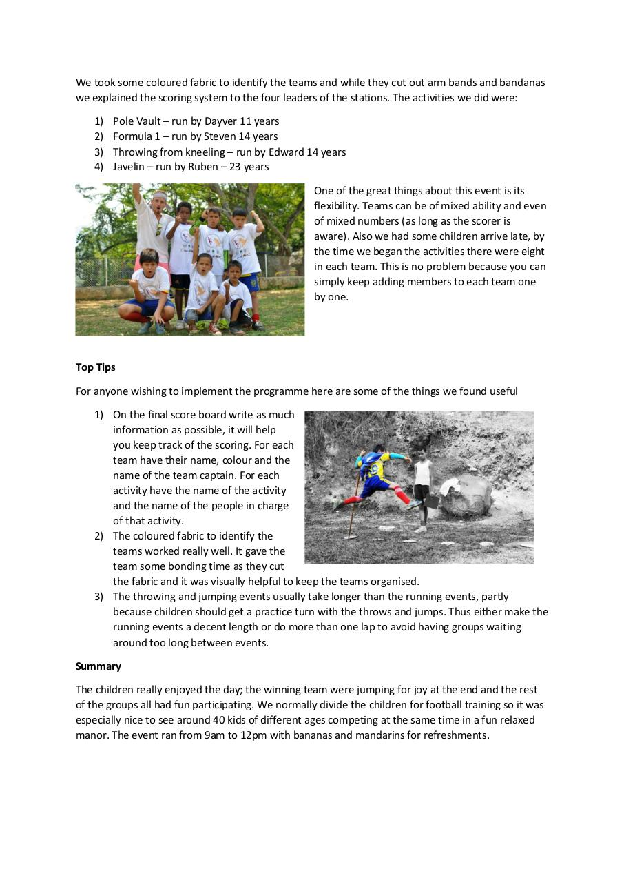 Report of Goals for Peace Bucaramanga Implementing Atletismo Por La