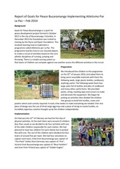 report of goals for peace bucaramanga implementing atletismo por la paz