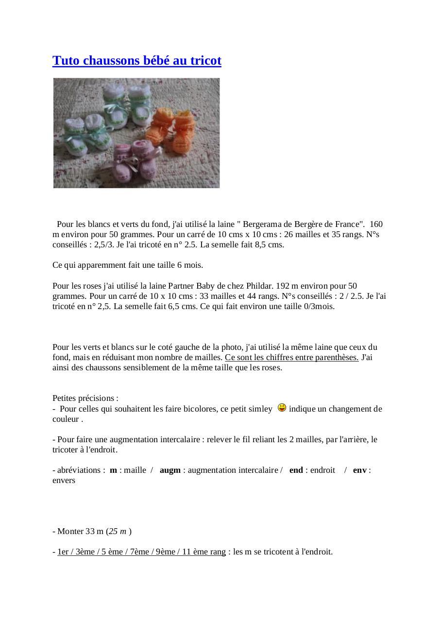 Tuto chaussons bébé au tricot par maison - Fichier PDF