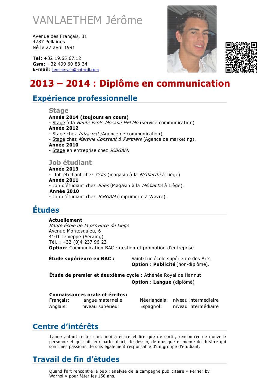 Curriculum Vitae Jerome Vanlaethem 3 Par Vanlaethem Curriculum