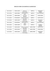 emploi du temps du 06 janvier au 10 janvier 2014