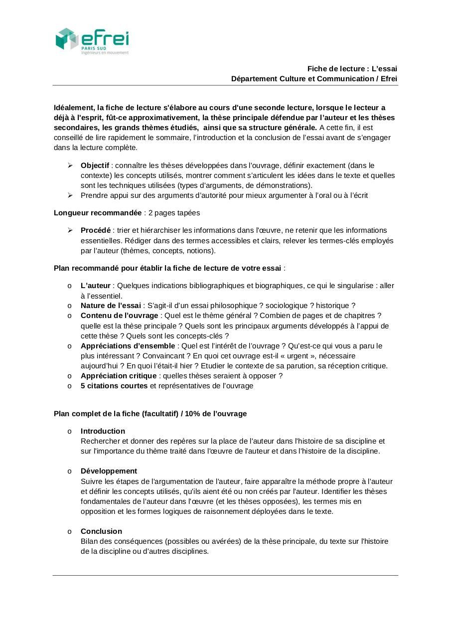 Fiche de lecture Essai par soma - Fichier PDF