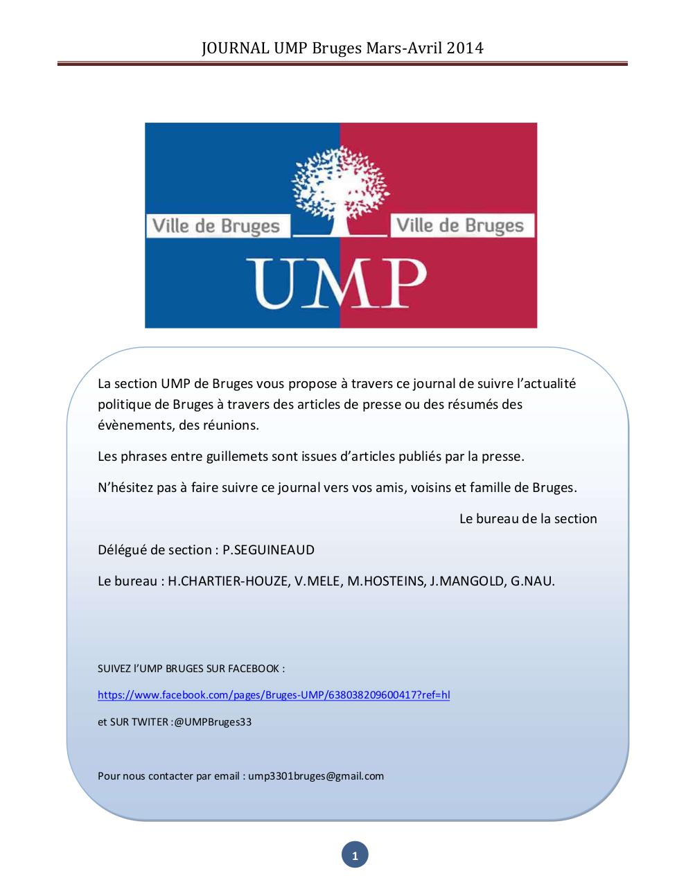 Aperçu du document JOURNAL UMP Bruges mars-avril 2014.pdf - page 1/10