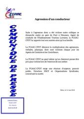 communique de presse fgaac cfdt agression du 11 mai 2014