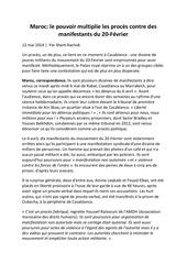 maroc le pouvoir multiplie les proces contre des manifestants du 20 fevrier