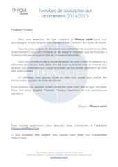 Fichier PDF formulaire de souscription