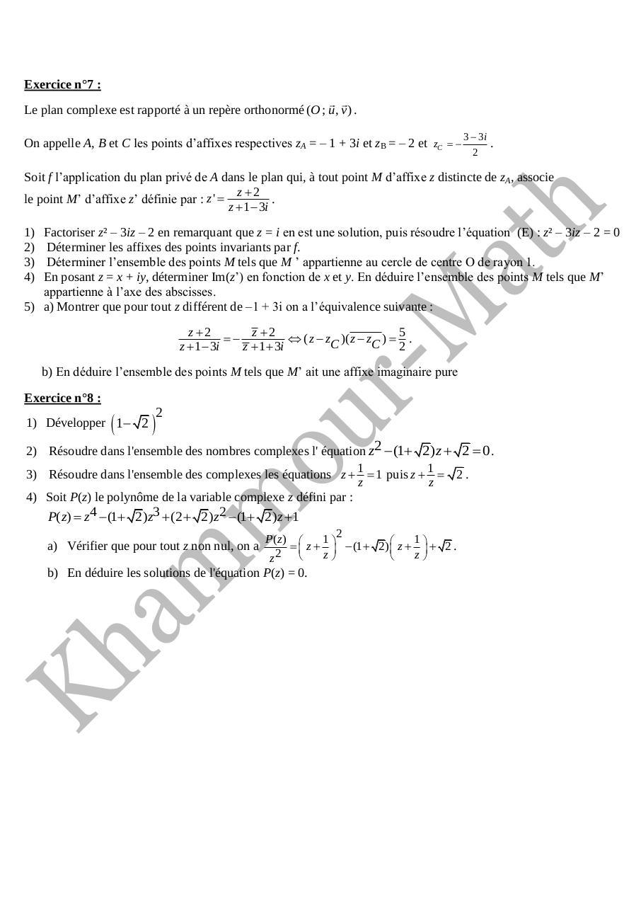 Sujet De Revision Nombres Complexes Bac Sc Exp Fichier Pdf