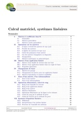 calcul matriciel systemes lineaires