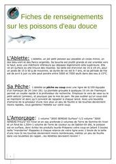 fiches de renseignements sur les poissons d eau douce