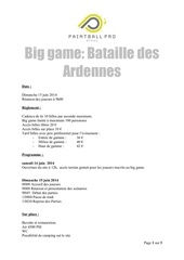 inscription big game bataille des ardennes 15 06 2014