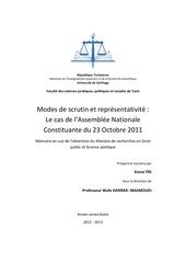 modes de scrutin et representativite tunisie