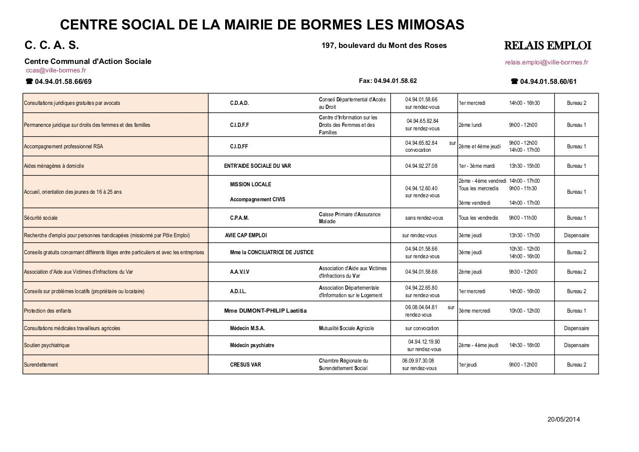 Aperçu du document Permanences Centre Social et divers.xls.pdf - page 1/6
