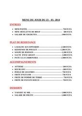 menu du jour du 23 05 2014 1