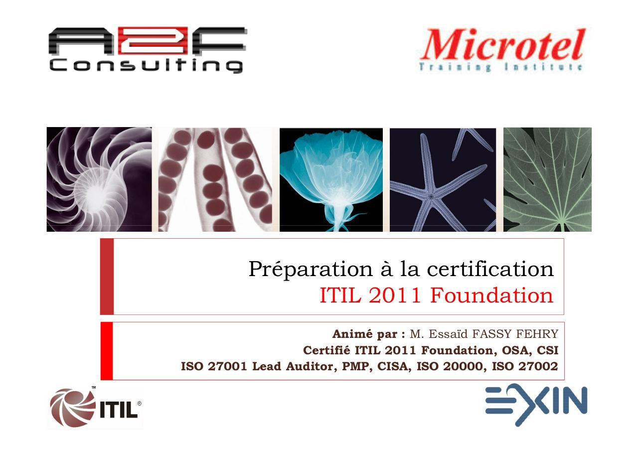 préparation certification itil 2011 foundation  résumé