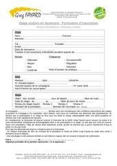 formulaire inscription stage