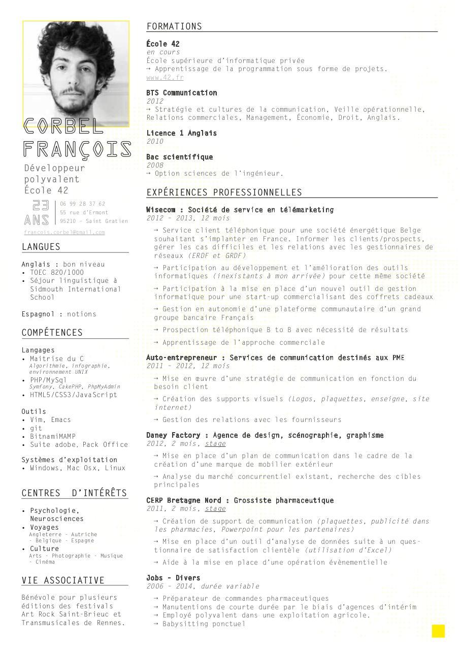 cv francoiscorbel  cv francoiscorbel pdf