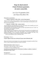 plaquette stage chant spontane 13 14 septembre 2014
