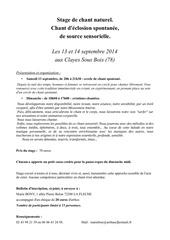 stage chant spontane 13 et 14 septembre 2014