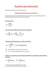 equation gravitationnel