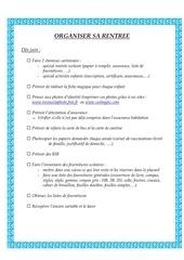 Fichier PDF organiser sa rentree