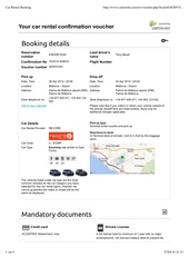 Fichier PDF car rental booking