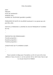 fiche d inscription