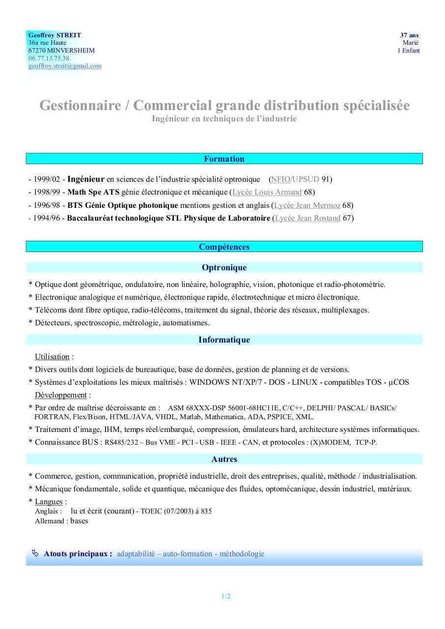 exemple cv fibre optique