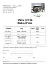 linen hire form chalet clavella