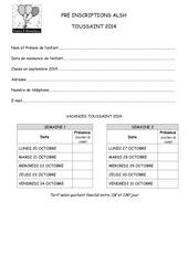 Fichier PDF preinscriptions toussaint