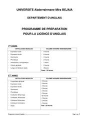 programme de preparation pour licence d anglais