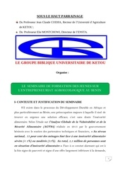 seminaire sur l entrepreneuriat agroecolgique au benin