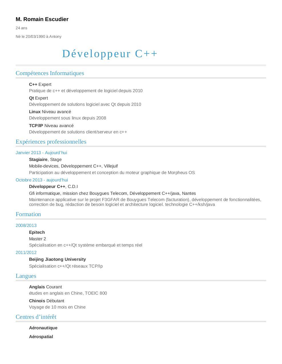 cv de romain escudier au format a4 - cv pdf