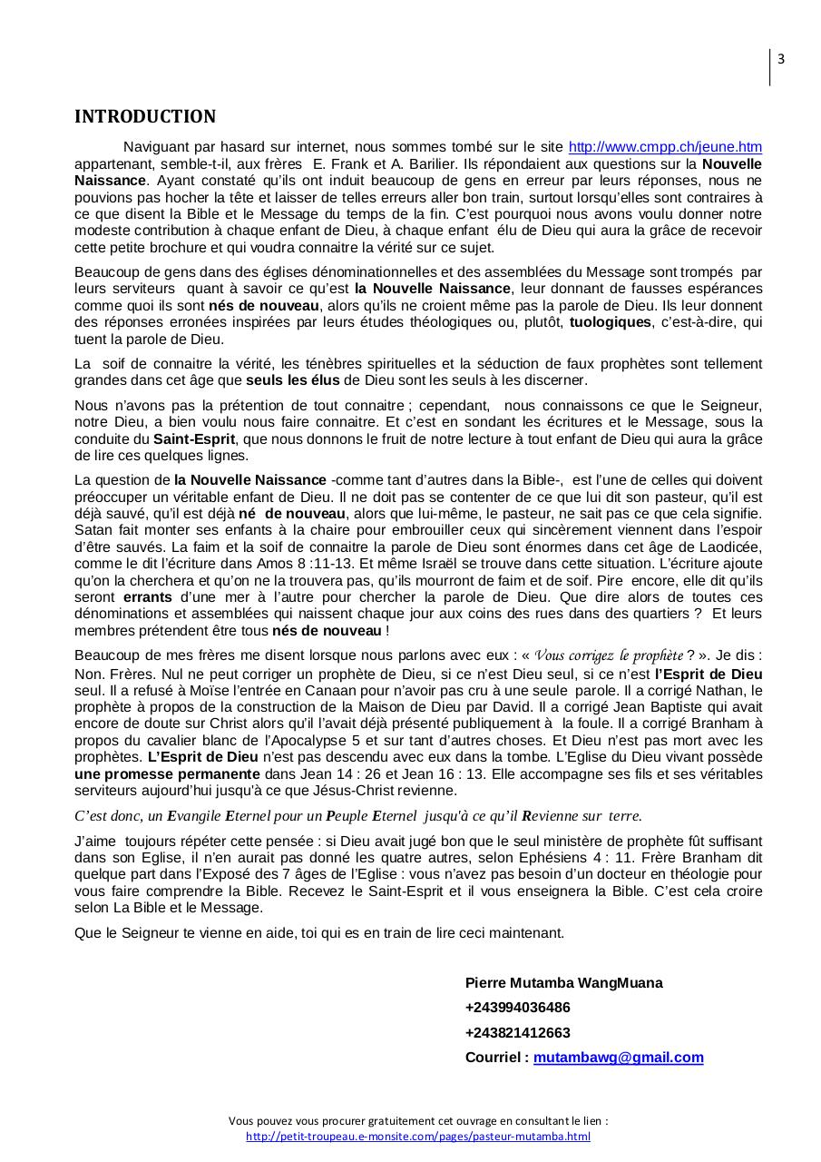 NOUVELLE NAISSSANCE SELON LA BIBLE ET LE MESSAGE DE WILLIAM MARRION BRANHAM.pdf - page 4/31
