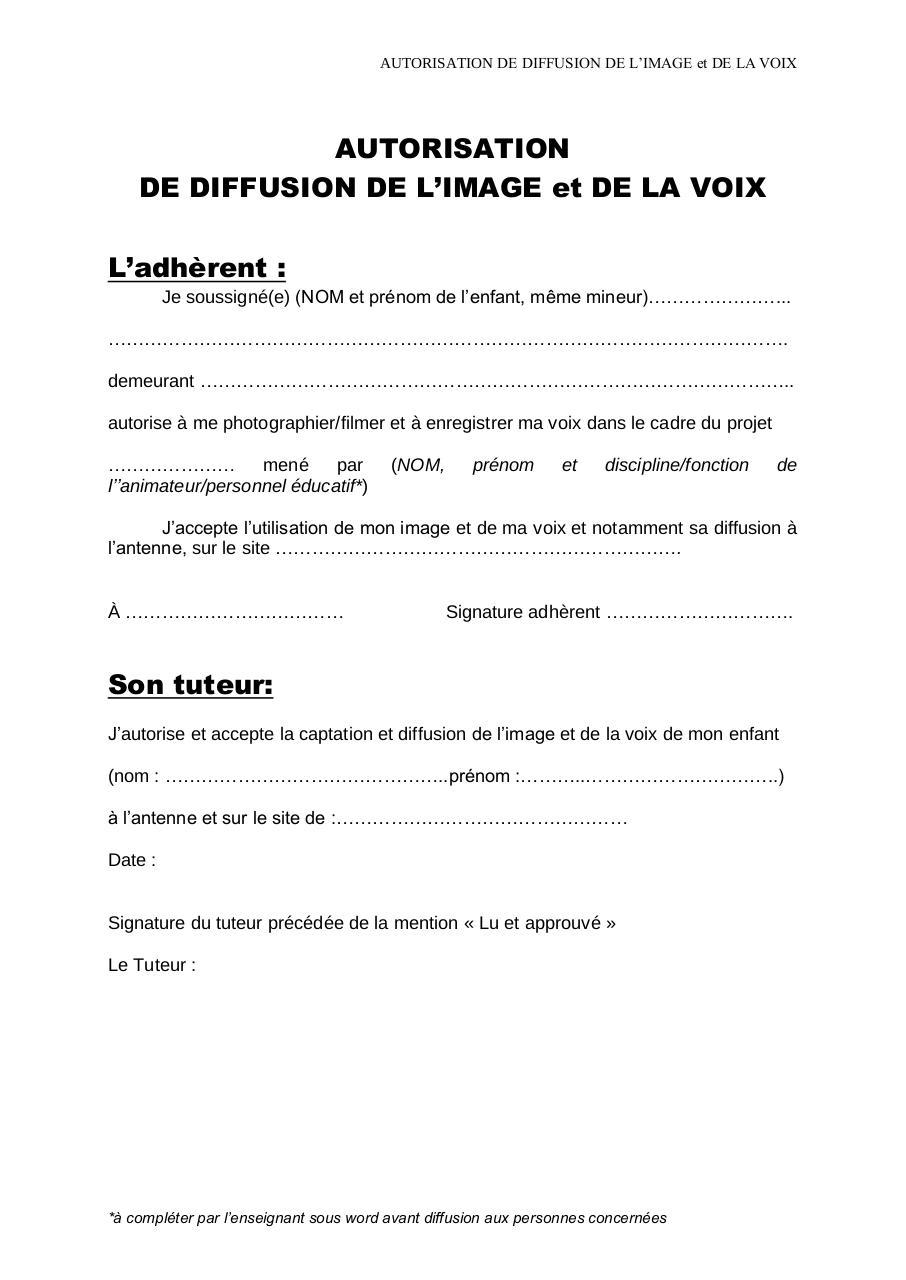 DEMANDE D'AUTORISATION par Andrée Roque - autorisation voix et image.pdf - Fichier PDF