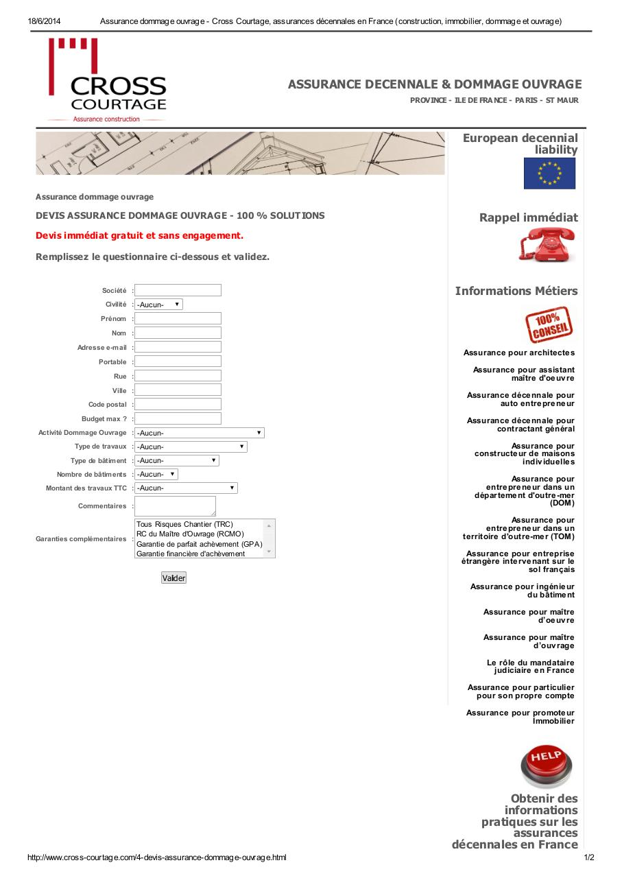 Assurance dommage ouvrage fichier pdf for Assurance dommage ouvrage particulier