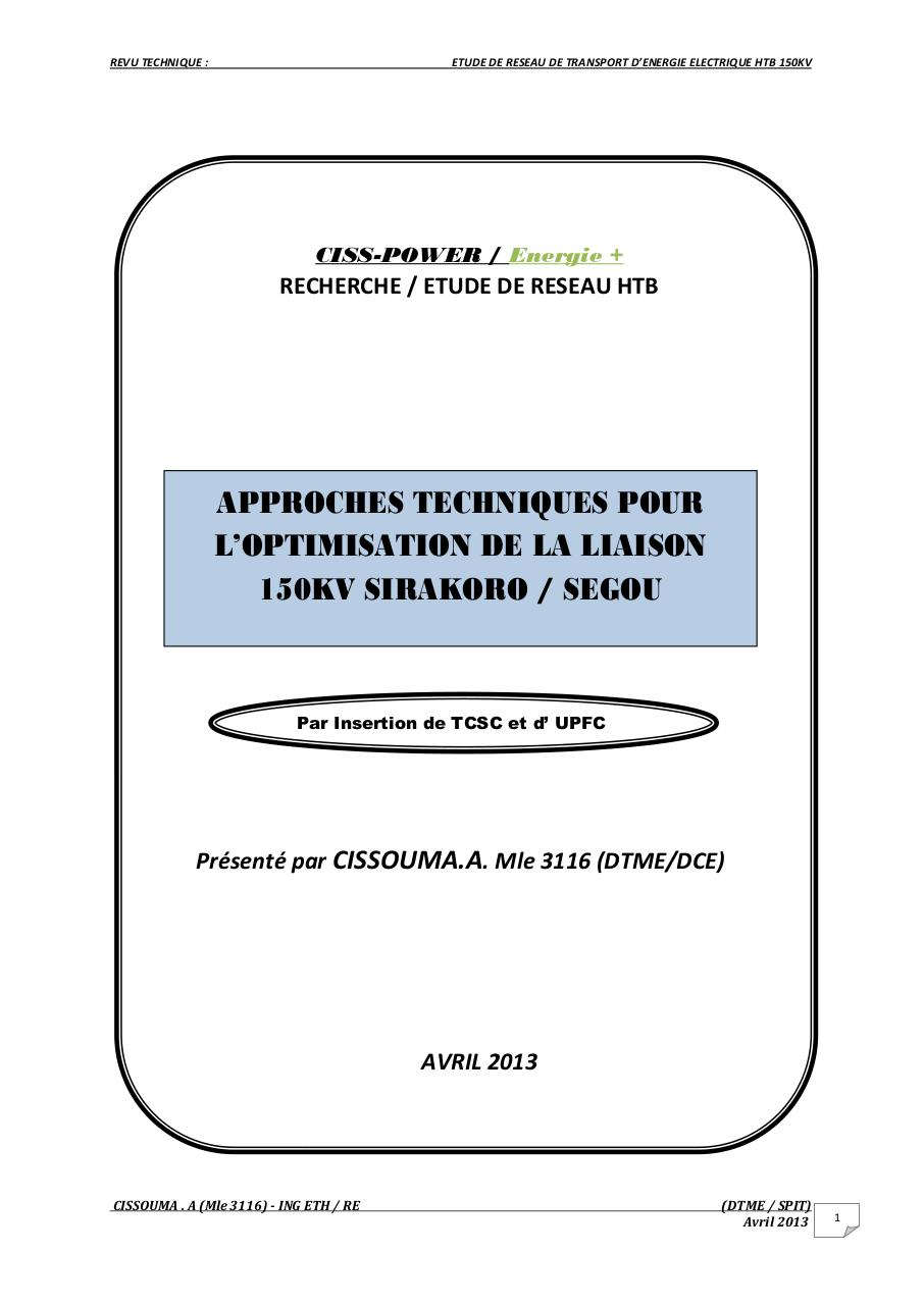 Aperçu du document Optimisation Liaison 150kV Sirakoro-Ségou (new) mod.pdf - page 1/17