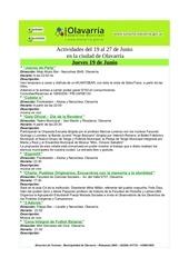 gacetilla de actividades del 19 al 27 de junio
