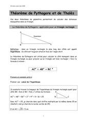 cours thales et pythagore