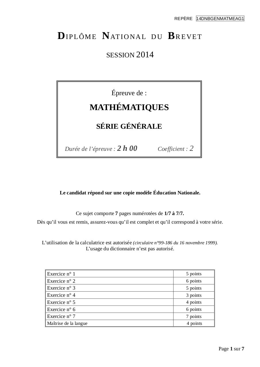 Brevet Math 2014 Par Lbarbenson Fichier Pdf