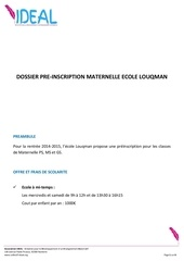 pre inscription maternelle