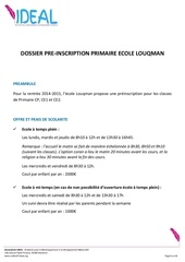 pre inscription primaire