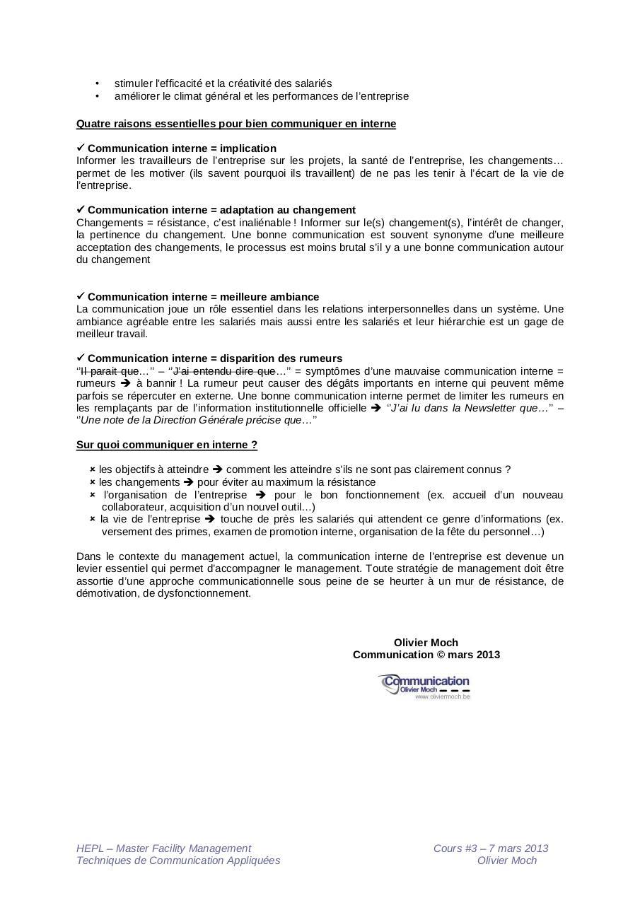 2013 03 23 Communication Interne De L Entreprise Par Omoch Ma