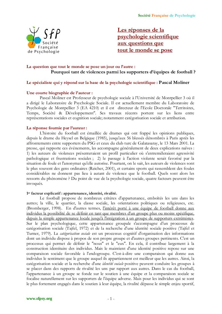 Aperçu du document PSYCHOLOGIE DU SUPPORTER.pdf - page 1/3