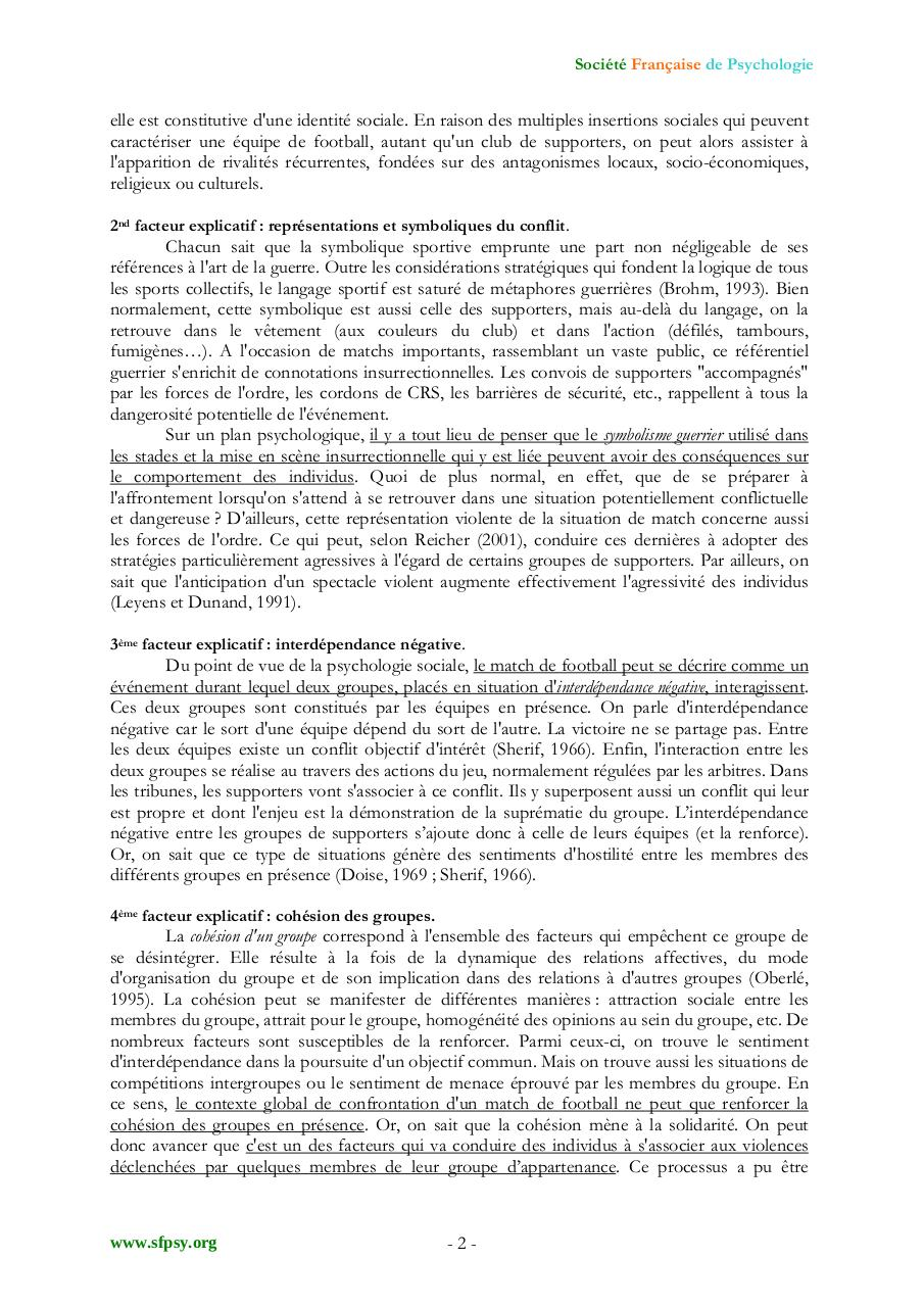 Aperçu du document PSYCHOLOGIE DU SUPPORTER.pdf - page 2/3
