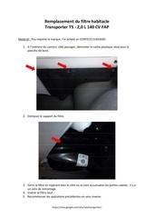 tutoriel remplacement filtre habitacle transporter t5
