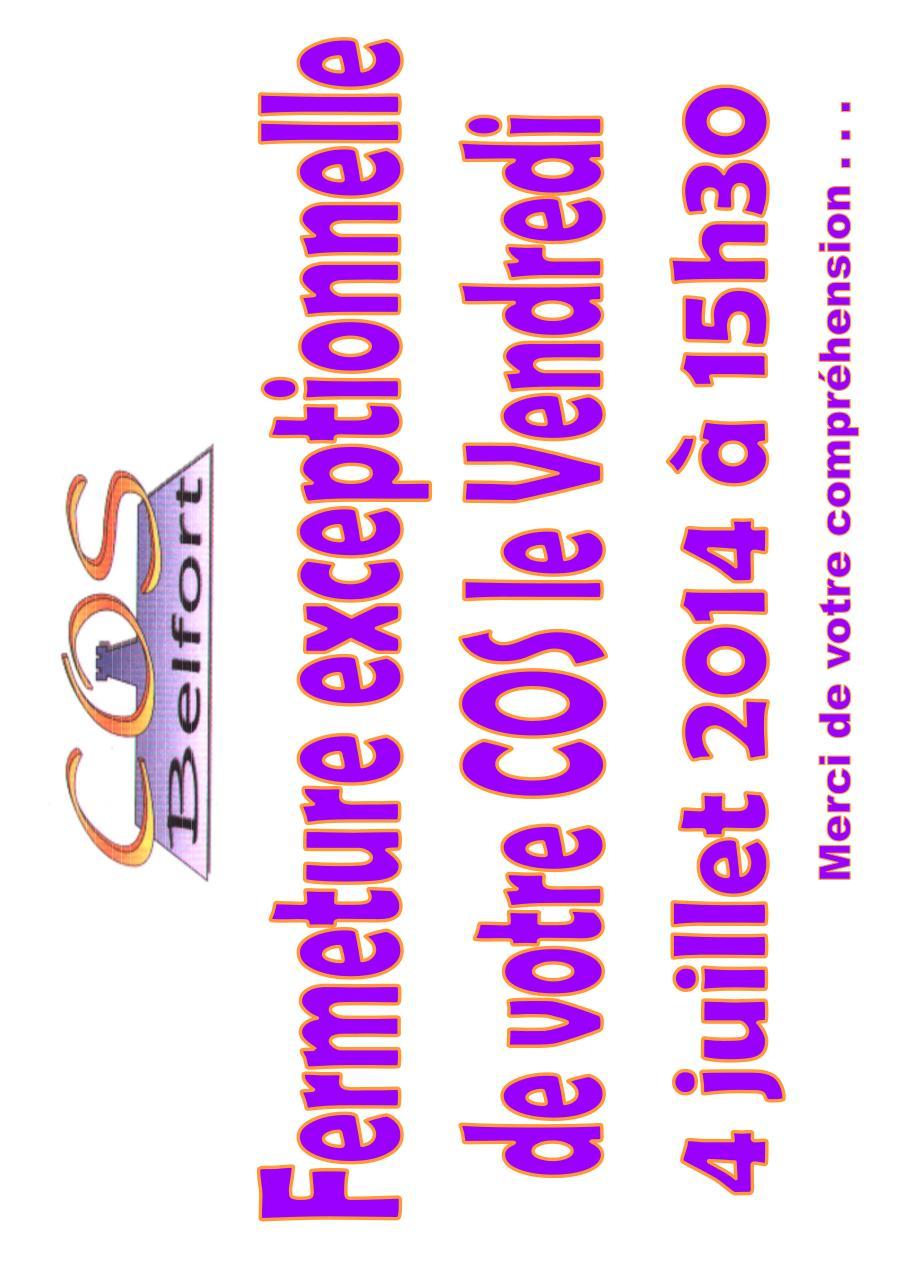 Fermeture exceptionnelle 15h30 le 4 juillet par for Publication exceptionnelle