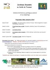 agenda ateliers 2eme semestre 2014