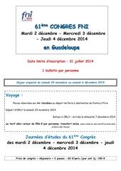 bulletin d inscription congres guadeloupe 2014