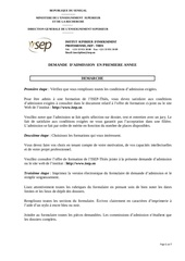 Fichier PDF isep demande admission 2014 2015